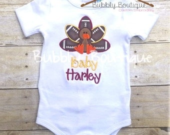 Embroidered football turkey baby outfit for Thanksgiving in team colors of your choice INCLUDES NAME