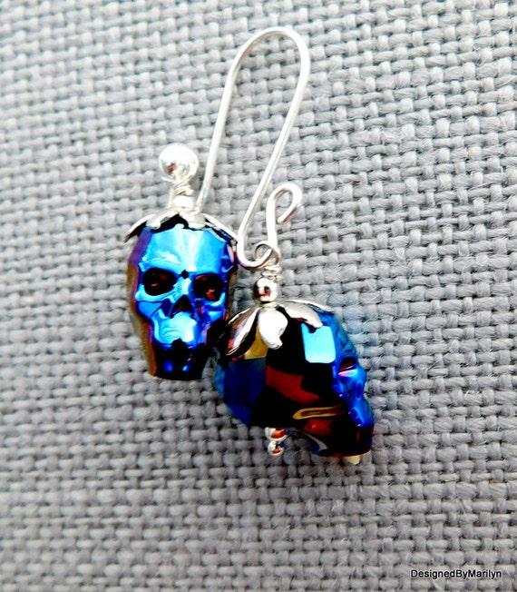 Swarovski crystal metallic blue skull earrings, Gothic earrings, Gothic jewelry, skull head, Halloween jewelry, Steampunk