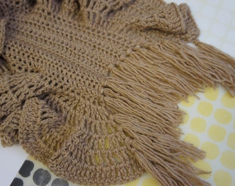 Handcrafted Brown Ruffle Scarf