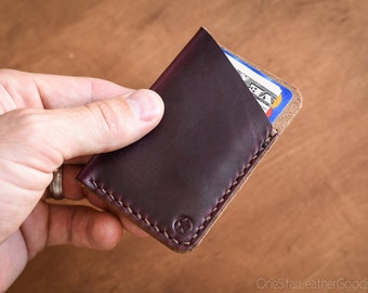 The Minimalist: micro card wallet, business card case, Horween Chromexcel - burgundy #8