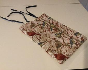 Deep lined bird fabric bag