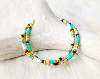 Tribal Bracelet Beaded Friendship Bracelet African Vinyl Bracelet - Green & Yellow - Boho Jewelry Tribal Jewelry Bohemian Jewelry Hippie