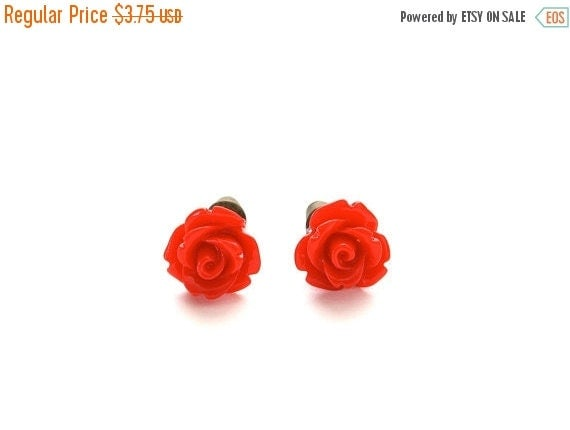 SALE 20% OFF SALE Tiny So Red Rose Earrings, Under 5 Dollars, Valentine's Red, Gift for Her