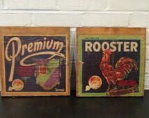 2 Vintage Fruit Crate End Panels with Labels / Lithographs / Rooster Valencias / Premium Eadington Fruit Co.