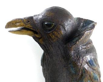 Crow Sculpture by British Ceramic Artist Tracy Wright from Zoo Ceramics - Original Bird Art