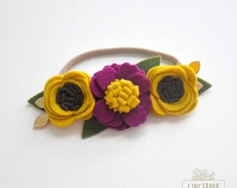 Fall Autumn Flower Crown - Fall Newborn Flower Crown - Baby Felt Flower Crown - Felt Flower Headband - Newborn, Baby, Toddler Photo Prop