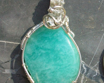 Sterling Silver Wire Wrapped Aventurine Pendant