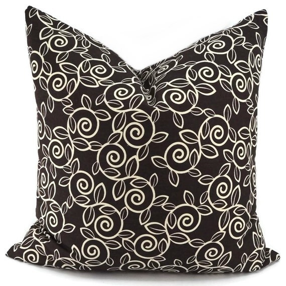 Decorative Pillows Chocolate Brown : Throw Pillow Cover Chocolate Brown & Off White Swirly Floral