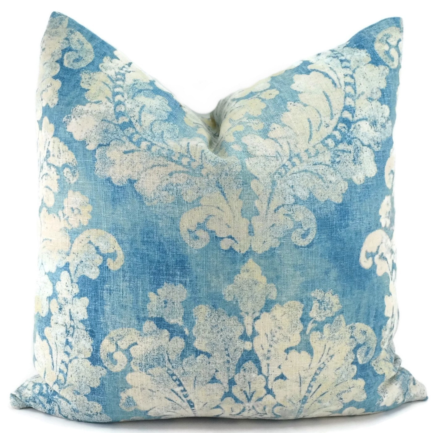 Large Throw Pillow Patterns : Throw Pillow Cover Blue & Oatmeal Large Leaf Damask Pattern