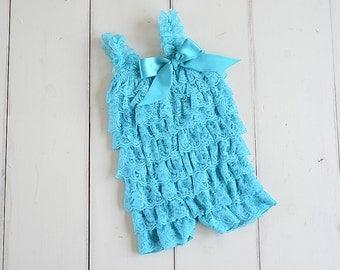 Teal romper, Baby romper, Teal Lace Romper, Cake smash outfit girl, Lace petti romper, Baby girl romper, teal dress