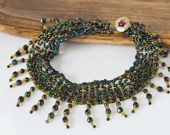 Glamorous Metallic Netting Collar Bead Woven Necklace Handmade OOAK Necklace