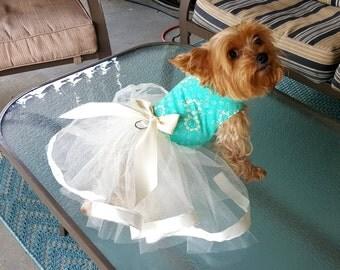 Dog Tutu Dress, Dog Clothing, Dog Wedding Dress, Pet Clothing, Green Floral Tutu