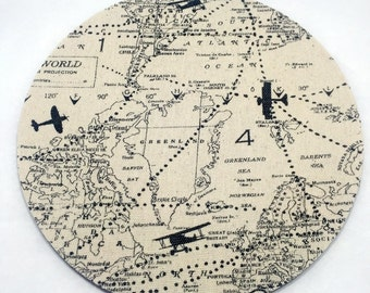Planes and Maps Mouse Pad / Computer / Office Decor / Coworker Gift / Home Decor / Teacher Gift / Office Supplies / Mac / Accessories / Map