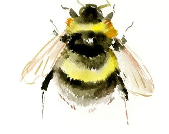 "Bumblebee 10"" X 8"" one of a kind original watercolor painting bumblebee wall art"
