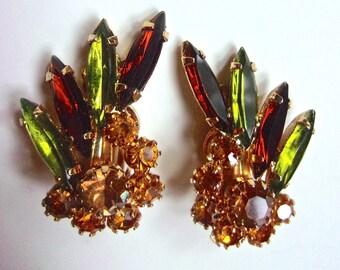 JULIANA Green Topaz Orange Rhinestone Earrings, Navettes Chatons Cluster, Vintage