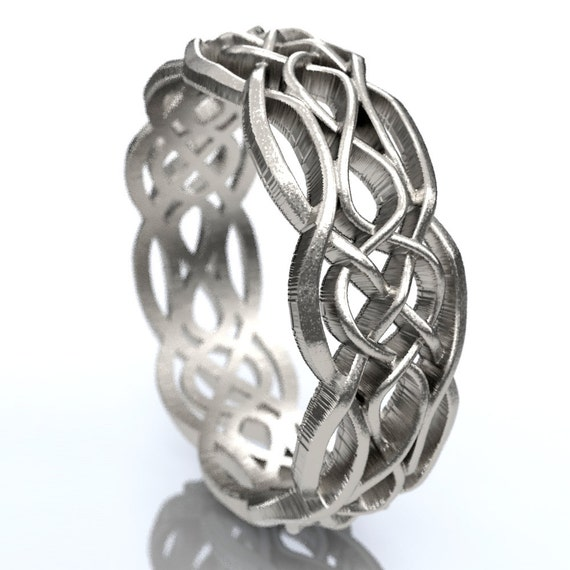 Celtic Wedding Ring With Cut-Through Infinity Symbol Pattern & Quaternary Celtic Knots in Sterling Silver, Made in Your Size CR-1055