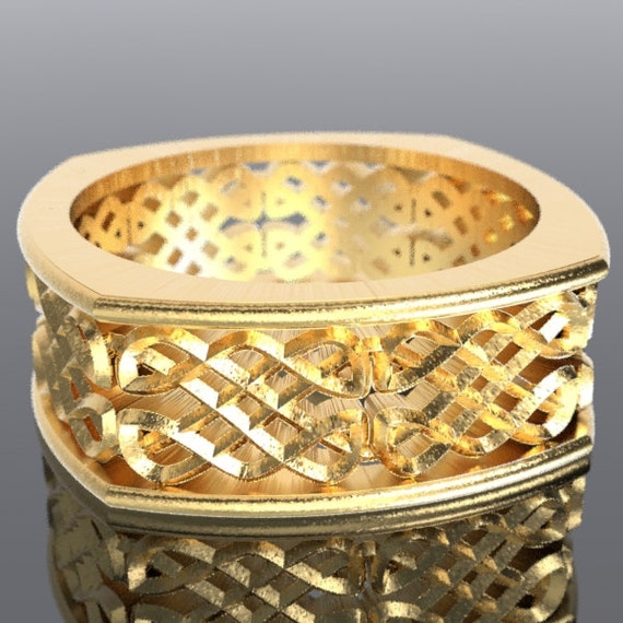 Gold Celtic Wedding Ring With Dara Knotwork Design in 10K 14K 18K Gold, Palladium or Platinum, Made in Your Size Cr-450