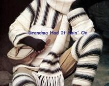Vintage Knitting Pattern - Cap Scarf Pullover Sweater Leg warmers set - Leggings Hat Set - PDF Instant Download - Digital Pattern Long Johns