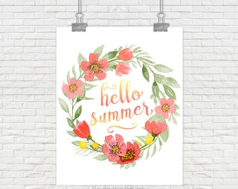 Hello Summer printable art Hello summer sign Summer print summer art Watercolor summer Printable home decor Printable decor blue and yellow
