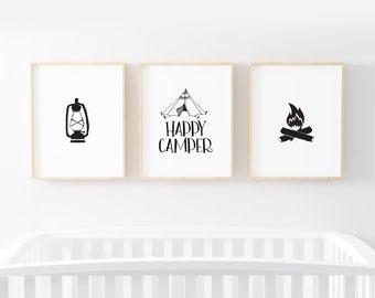 Happy Camper - Printable Nursery Wall Art - Black And White - Minimalist Nursery - Adventure - Baby Shower Gift -  SKU:1388