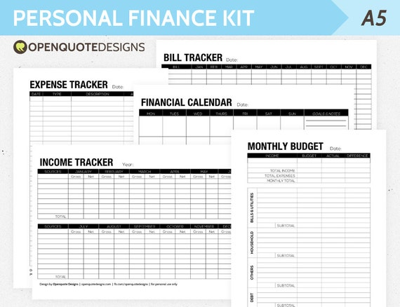 A5 filofax finance printable personal finance kit monthly for Zero balance budget template