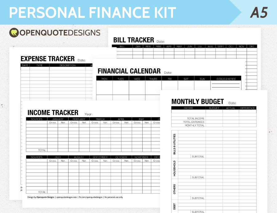 A5 Filofax Finance Printable Personal Finance Kit Monthly