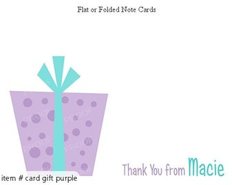 Purple Teal Party Gift Personalized Note cards Stationery Set of 10 flat or folded notecards