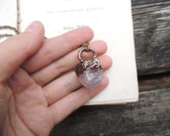 pink quartz electroforming copper dipped