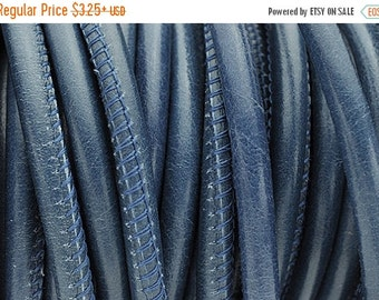 Up to 40% Off 5MM Round Wire Core Stitched Leather Cord - True Blue Royal