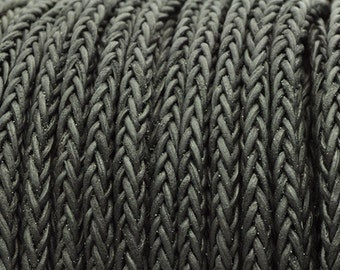 """4MM 8-Ply Braided Bolo Leather Vintage Black - 1M/39.4"""""""