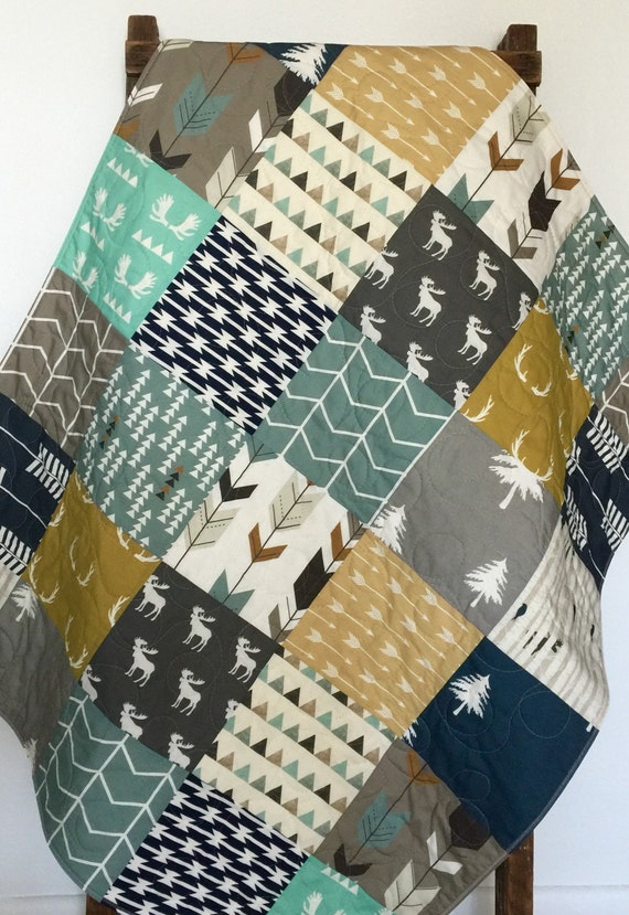 Quilt Throw Quilt Rustic Quilt Moose Quilt Throw Blanket