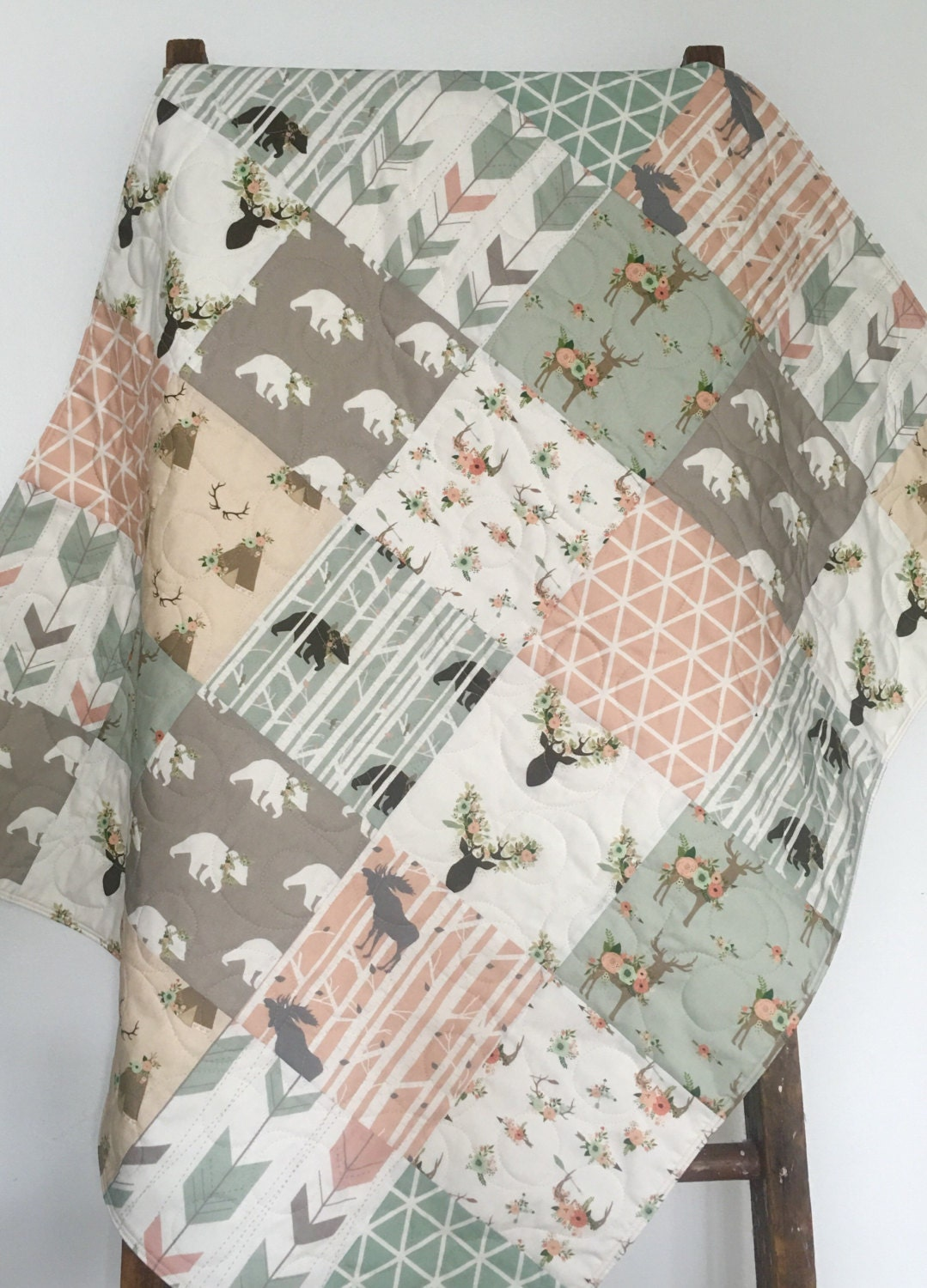 Sage Baby Quilt Girl Woodland Crib Bedding Baby By Coolspool