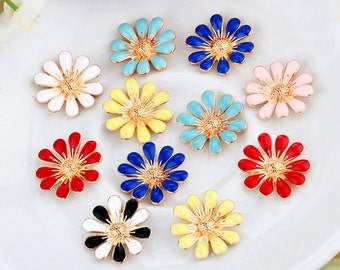 5 Pieces Flower Alloy Bling Bling Cell Phone Case Deco accessory Piece
