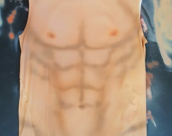 XL Orange Spraytan Male Torso Muscle Shirt