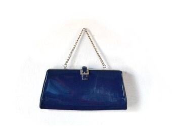 1960s Navy Clutch /  Navy Purse / Navy Bag / 1960s Clutch / 60s Purse /  Blue Bag / Women Accessories / Clutches / Navy Bags Purses