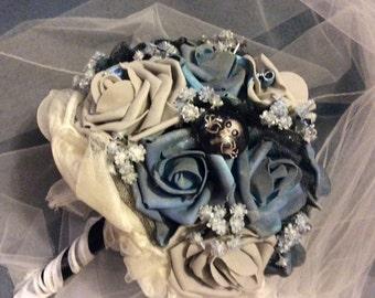 CORPSE BRIDE Wedding Flower Bouquet-Bridal Flower-Brides Flowers-Blue/Grey/Black-Tim Burton Wedding-Fantasy-Halloween Wedding-Disney Flowers