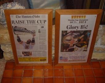 2 boston bruins 2011 custom framed original newspapers stanley cup champions rustic cedar display