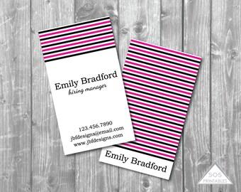 Girly Business Card, Printable Business Cards, Edgy Business Card, Black and Hot Pink, Modern Stripe Design, Printable PDF, JPEG, Digital