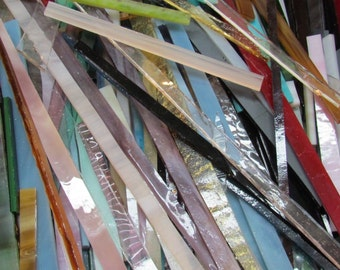 STRIPS of Glass from stained Glass Shop for Mosaic work or art project in glass  1.5 lbs