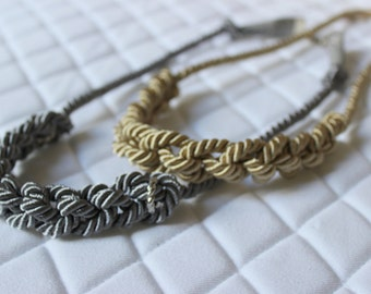 Crochet knot satin cord necklace in silver or gold