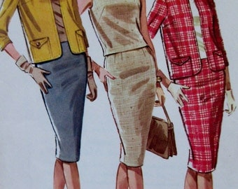 Vintage 1960s McCall's 6177  Sewing Pattern Misses Suit and Overblouse  Size 14 Bust 34 **Epsteam