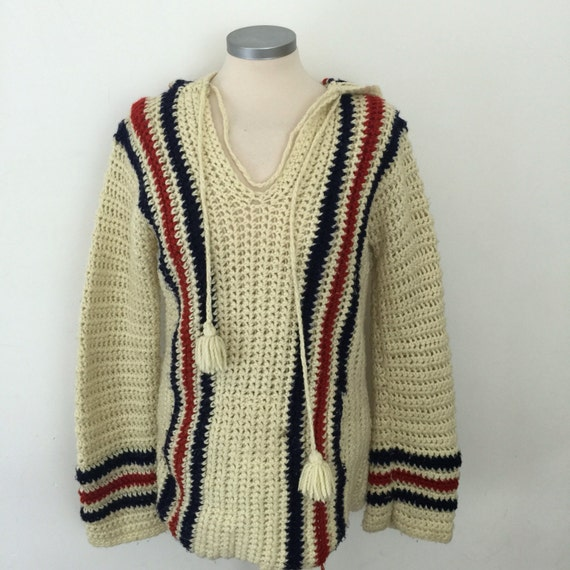 1970s hoodie crochet sweater boho wool poncho handmade festival cover up hippy 70s striped UK 12 M cream thick grunge nu wave