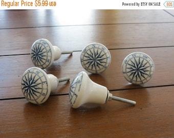 ON SALE TODAY Compass Blue and White Ceramic Knob / Dresser Drawer Knob / Drawer Pull / Cabinet Door Knob / Nautical Decor / Beach Decor/ Se