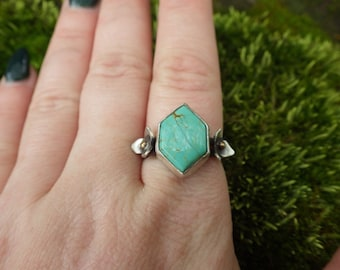 Trillium Honeycomb Kingman Turquoise Sterling Silver Ring Size 9.5