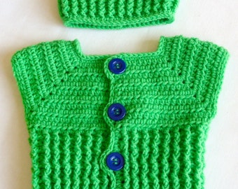Baby Boy Sweater Vest and Hat Crochet PATTERNS, Sweater Vest PATTERN, Crochet Sweater and Hat Set