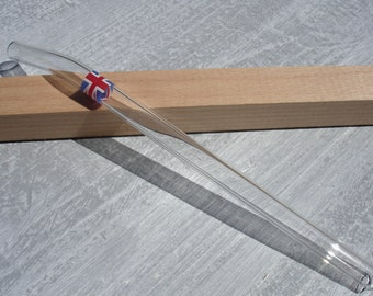 "Glass drinking straw ""Great Britain"", single, 10 x 200 mm, curved"