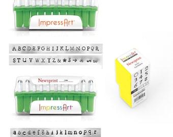 ImpresArt Standard Newsprint Uppercase or Lowercase or Numbers 3mm   Metal Stamping Font   Hand Stamping Letter Set   ImpressArt NewsPrint