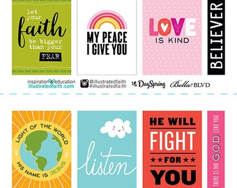 Bella Blvd - Illustrated Faith - Cardstock Stickers - Word Art - 16 pieces - 1252