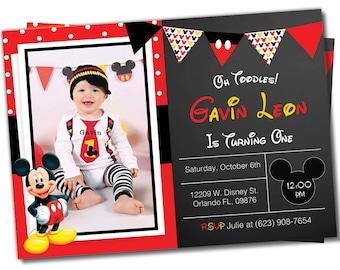 Mickey mouse Invitation, Mickey mouse invite, Mickey invitation, Mickey Invite, Photo invitation, Birthday invitation, Mickey Mouse (M2)