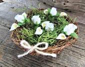 White Calla Lily Rose Centerpiece, Twig Bird Nest Decor Centerpiece Wedding Decor, Rustic Farmhouse Country Spring Wedding Easter Decoration
